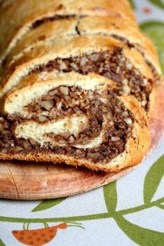 Hungarian nut roll is one of my family's most treasured recipes - but this version has less fat since it's made with skim milk and low-fat margari Fresh yeast is usually found in the dairy section, but you can substitute with 2 ounce) packets of dry yeast Just Desserts, Delicious Desserts, Dessert Recipes, Yummy Food, Nut Roll Recipe, Hungarian Recipes, Hungarian Nut Rolls Recipe, Slovak Recipes, Hungarian Food