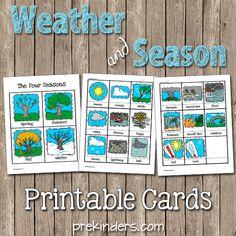Weather and Season Printable Cards