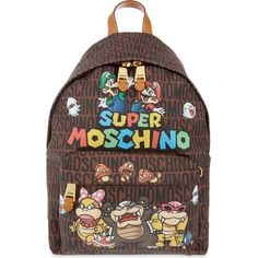 MOSCHINO Super backpack (2.985 BRL) ❤ liked on Polyvore featuring bags, backpacks, multicolour, pattern backpack, comic book, print backpacks, leather daypack and colorful backpacks