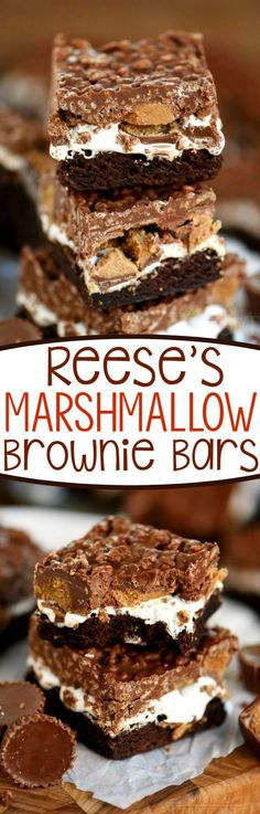 Reese's Marshmallow Brownie Bars are the perfect dessert for a crowd! This easy dessert recipe is impossible to resist - full of sweet chocolate and yummy peanut butter.all you'll need is a glass of milk! Marshmallow Brownie Bars are the perfect dessert 13 Desserts, Desserts For A Crowd, Cookie Desserts, Delicious Desserts, Dessert Recipes, Yummy Food, Potluck Recipes, Bar Recipes, Baking Recipes