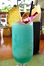 Blue Hawaiian: 1 1/2 oz. vodka 1/2 oz. Blue Curacao 1/4 oz. creme of coconut 3-4 oz. pineapple juice. Combine all ingredients in  a shaker with ice.