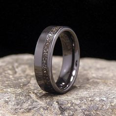 Fabulous Gibeon Meteorite Shavings Wide Offset Inlay Black Zirconium Wedding Band or Ring