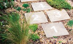 With a skip and a jump… Leftover paving slabs, masonry paint, some stencils and a few thyme plants are all that's needed to create a scented...
