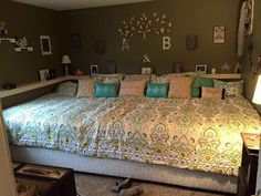 Who doesn't love a big bed! This is a king size and a twin placed together. With special made sheets and blanket!