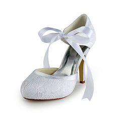 Satin Stiletto Heel Pumps With Lace Wedding Shoes (More Colors) – EUR € 41.24