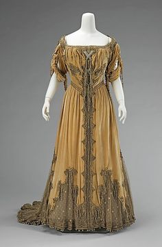 Evening dress  Attributed to House of Worth (French, 1858–1956) Designer: Attributed to Jean-Philippe Worth (French, 1856–1926) Date: 1908–10 Medium: silk, metal