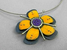 Handmade yellow orange passion flower sterling by tomlindesign