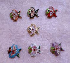 Cloisonne Fish Beads  18mm x 18mm  TWO in by JerseyShoreBeads