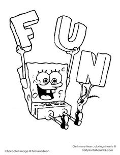Spongebob Coloring Pages or coloring books w/ crayons at the party ...