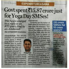 The Department of Ayurveda, Yoga and Naturopathy, Unani, Siddha and Homeopathy a.k.a. AYUSH Ministry, spent a total of Rs. 15.87 crores for sending bulk SMSes to the general public in order to spread awareness about International Yoga Day.