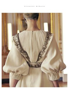 McQueen - elegant cream #fashion - classy detailing with embroidery and pleats