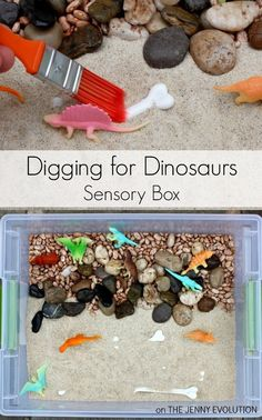 Digging for Dinosaur Sensory Bin for toddlers – An invitation to play - Crafts for Toddlers Dinosaurs Preschool, Dinosaur Activities, Dinosaur Crafts, Preschool Activities, Dinosaur Play, Dino Craft, Kindergarten Sensory, Motor Activities, Creative Activities
