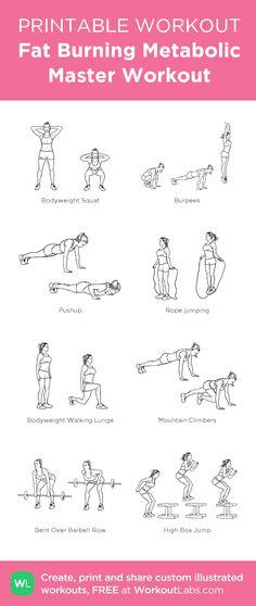 Fat Burning Metabolic Master Workout: my custom printable workout by @WorkoutLabs #workoutlabs #customworkout