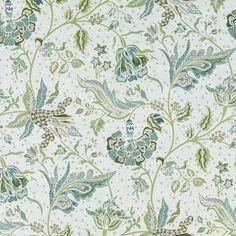 Prints Fabric - Gibbie Aqua/Green Floral - Large Floral Vine Fabric Pattern