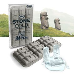 Easter Island tiki god ice tray begs to be filled with Mai Tais and popsicle sticks!