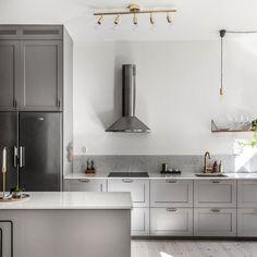 3 ideas of recessed door handles in the kitchen - HomeDBS Kitchen Jars, Open Kitchen, Kitchen Dining, Kitchen Ideas, Dining Room, Kitchen Interior, Interior Design Living Room, Rustic Kitchen Design, Kitchen Designs