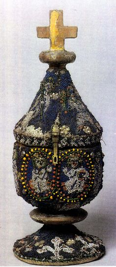 heavily beaded pyx -- small box with pointed top