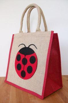 Natural Jute Hessian Animal Medium Red Trim Shopping Bag - Felt Ladybird Motif
