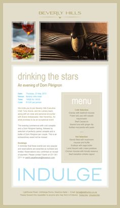 Drinking the stars, an evening with Dom Perignon Champagne at Beverly Hills Hotel, Uhmlanga South African Wine, Dom Perignon, Wine Dinner, Beverly Hills Hotel, Executive Chef, Wine Tasting, Wines, Drinking, Champagne