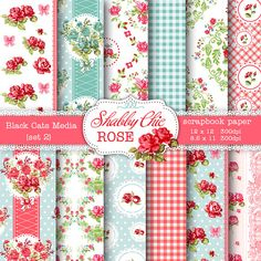 Shabby Chic Digital paper 12 x 12 in AND 8.5x11 in -Shabby chic rose for scrapbooking, invites, cards, pink and blue – seamless pattern
