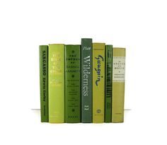 Vintage  Books  in Decorative Shades of Green and Yellow  for Wedding Decor Home Decor Photography Prop