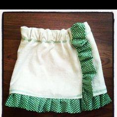 Oatmeal and green dot toddler skirt