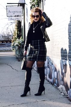 Sexy winter outfit: how to style a wool skirt, over the knee boots and moto jacket Sexy Winter Outfits, Winter Skirt Outfit, Casual Dress Outfits, Preppy Outfits, Wool Skirts, Over The Knee Boots, Fashion Boutique, Fitness Fashion, Moto Jacket
