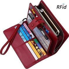 f9d303c8517a Brenice Cowhide 19 Card Holder Vintage Hasp Long Purse RFID Clutches Bags  sales at a good price. Come to Newchic to buy a wallet