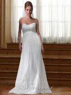 Chiffon Strapless Empire Waist Grecian Wedding Dress from http://www.noviamor.com So pretty