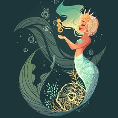 Seahorse Mermaid - Print sold by The Art of Sara Sturges. Shop more products from The Art of Sara Sturges on Storenvy, the home of independent small businesses all over the world. Mermaid Drawings, Art Drawings, Drawings Of Mermaids, Mermaid Illustration, Illustration Art, Fantasy Creatures, Mythical Creatures, Character Art, Character Design
