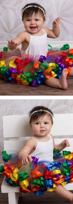 Rainbow tutu, baby rainbow tutu, rainbow toddler dress, 1st birthday girl outfit, rainbow baby birthday