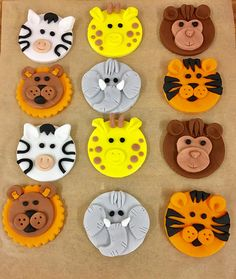 A set of Superb Fondant Safari Animal Cupcake Toppers. This listing includes: Elephants, Lions, Monkeys, Giraffes, Tigers & Zebras. If you would like a specific animal, please message and I will be more than happy to try and accommodate your request. These toppers are perfect to