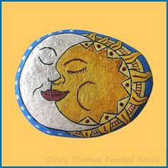 Sun-Moon Painted Rock by Cindy Thomas