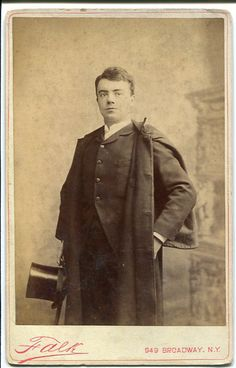 Cabinet photograph of Courtice Pounds in formal street clothes with top hat, by Falk, New York, c.1885. Originator of Fairfax and Marco in London as well as Nanki-Poo and Dick Dauntless in America.
