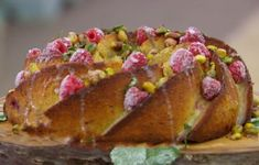 Raspberry Rhubarb Drizzle Cake with Custard (gluten-free) - from Season Episode 1 of the Great British Baking Show British Baking Show Recipes, British Bake Off Recipes, Great British Bake Off, Baking Recipes, Welsh Recipes, Gluten Free Baking, Gluten Free Desserts, Raspberry Rhubarb, Strawberry