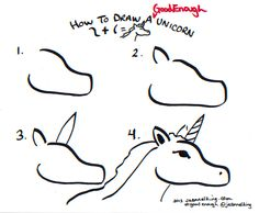How to draw a Good Enough unicorn - head - tutorial image by Jeannel King
