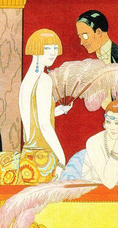 Éventails (fans) in the Theatre Dress Circle. right side illustration by GEORGES BARBIER (1924) ponchoir print (detail) (from Art Deco the Golden Age of Graphic Art & Illustration by Michael Robinson & Rosalind Ormiston 2013) please follow minkshmink on pinterest) #flapper #twenties #jazzera #artdeco