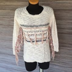 American Rag fringe sweater Perfect condition!! So soft and very chic!! 95% cotton 5% acrylic. Navy blue & gray colors within the strands. American Rag Sweaters Crew & Scoop Necks