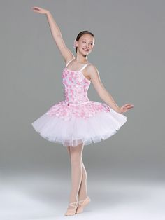 NEW! 2017 Collection Ballet Costume: Spandex leotard with floral mesh overlay has attached, adjustable nude shoulder straps under stretch satin straps, attached stretch satin waistband, and satin ribbon lacing on the back. Attached tutu is layers of white net under layers of organdy.  Includes headpiece, bobby pins, pin, hanger and garment bag.