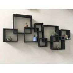 Set of 3 Floating Square Wall Shelves Nested Cubes Black - Gallery Solutions Cube Wall Shelf, Wall Cubes, Wall Shelf Decor, Cube Shelves, Diy Wall Shelves, Room Wall Decor, Wall Bookshelves, Corner Shelf, Mdf Shelving