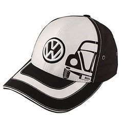 White baseball cap with embroidered Volkswagen VW logo in black. Black Beetle screen printed on the front. Volkswagen Bus, Vw T1, Vw Camper, Ferdinand Porsche, Beetle Bug, Vw Beetles, Vw Accessories, Vw Logo, Old Bug