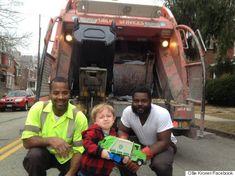2歳の男の子、尊敬するゴミ収集のおじさんたちにやっと会えた。でも...(画像)