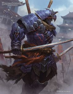 Hajime, The Cyber Samurai & Dreadnought in the Death Knights of the Insidium Dark Fantasy, Fantasy Armor, Fantasy Samurai, Arte Ninja, Arte Robot, Armor Concept, Concept Art, Fantasy Character Design, Character Art