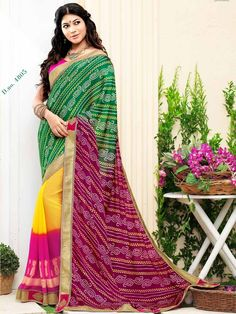 Shaede Pink with Green Bandhej Print Embroidered Bandhni Saree