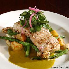 pescado del dia | california yellowtail, vegetable medley, poblano cream sauce