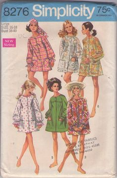 Simplicity 8276 Vintage 60's Sewing Pattern DUCKY Mod Front Buttoned Flared Smock Top Blouse, Micro Mini Coat Dress, Sheer Lace Beach Cover Up Jacket #MOMSPatterns