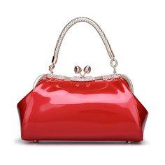 Vintage Kiss Lock Patent Leather Handbag (¥3,080) ❤ liked on Polyvore featuring bags, handbags, purses, borse, rosegal, handbag purse, kiss-lock handbags, red handbags, hand bags and red patent purse