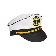 Our Set Sail Captain's Hat features white fabric, black bill and yellow trim. Each fabric captain's hat is made to fit most adults and measures 3 inches high x 12 inches long x 8 inches wide.