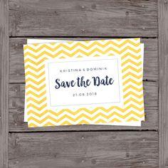 Save the Date Karte zum Selberdrucken | Yellow Chevron
