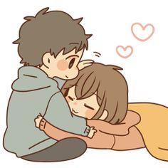 Stamp obediently by itsukiyu Cute Chibi Couple, Cute Couple Cartoon, Cute Couple Art, Cute Love Cartoons, Anime Love Couple, Cute Love Gif, Cute Love Pictures, Cute Couple Drawings, Cute Drawings